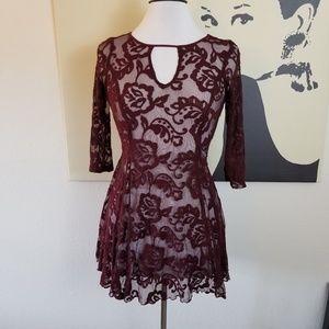 Tops - Burgundy Lace Top M/L